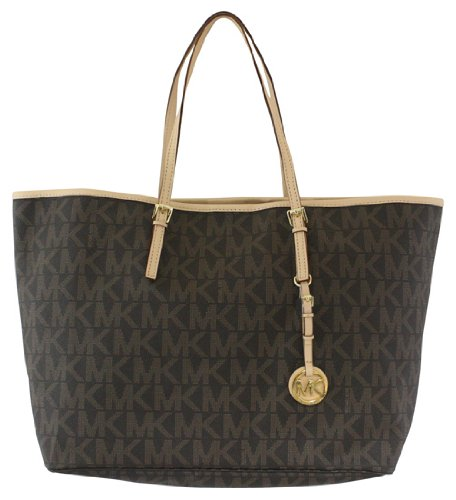 Michael Kors Jet Set Travel Medium PVC Logo Tote Brown